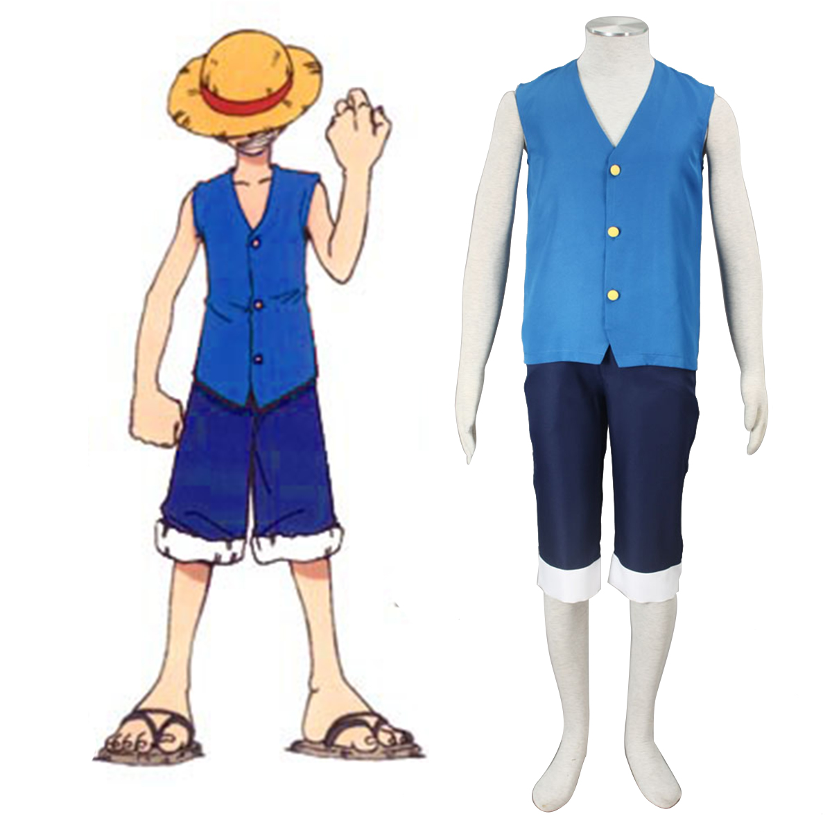 Disfraces One Piece Monkey D. Luffy 2 Azul Cosplay España Tiendas