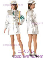 Futuristic Dama Five-Piece Police Disfraces Uniforme in White
