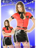 Sexy Dama Police Disfraces of Red Blouse and Negro Miniskirt