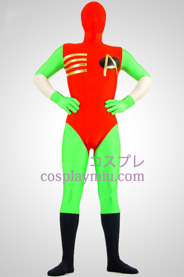 Green And Red Lycra Spandex Zentai Suit