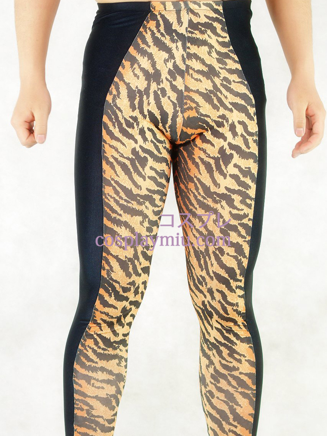 Tiger Skin And Black Style Lycra Spandex Men's Pants