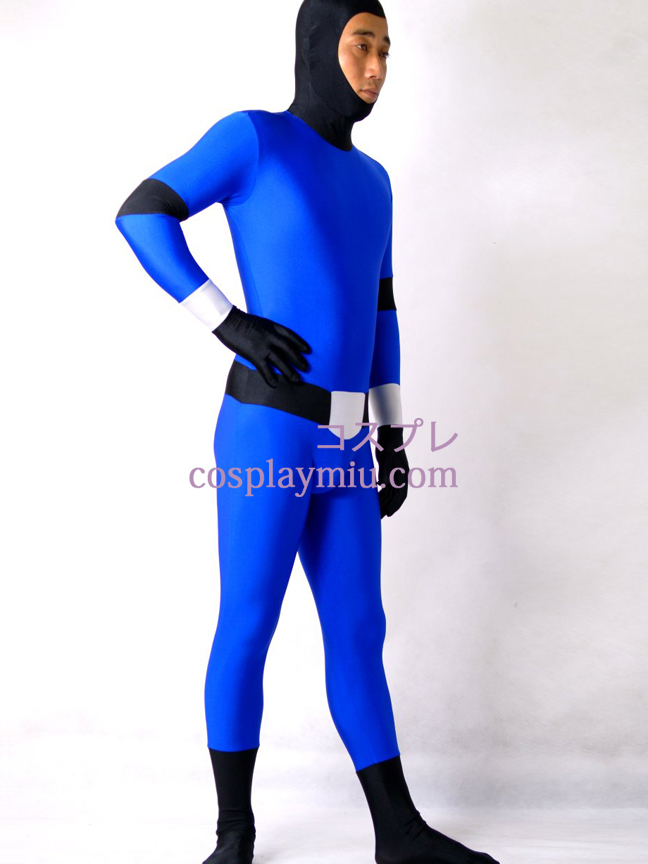 Blue And Black Lycra Spandex Zentai Suit With Face Open
