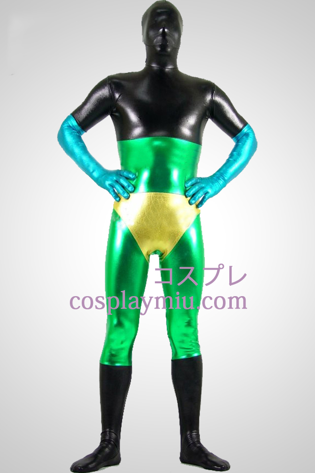 Black Green Yellow And Blue Shiny Metallic Unisex Zentai Suit