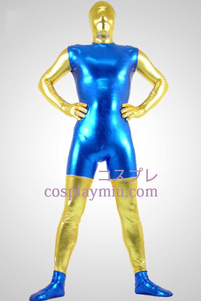 Blue And Golden Shiny Metallic Zentai Suit