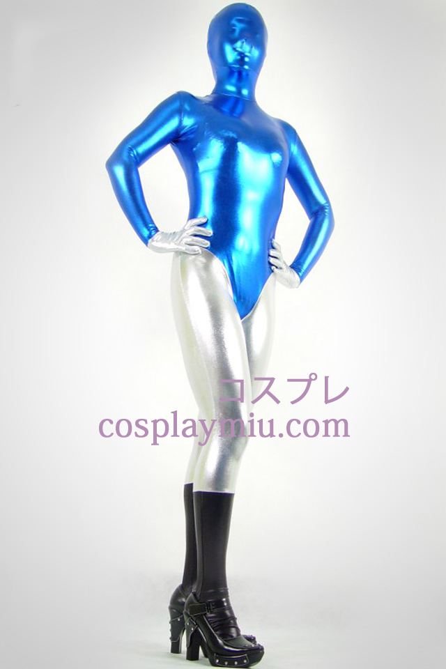 Black Blue And Silver Shiny Metallic Zentai Suit