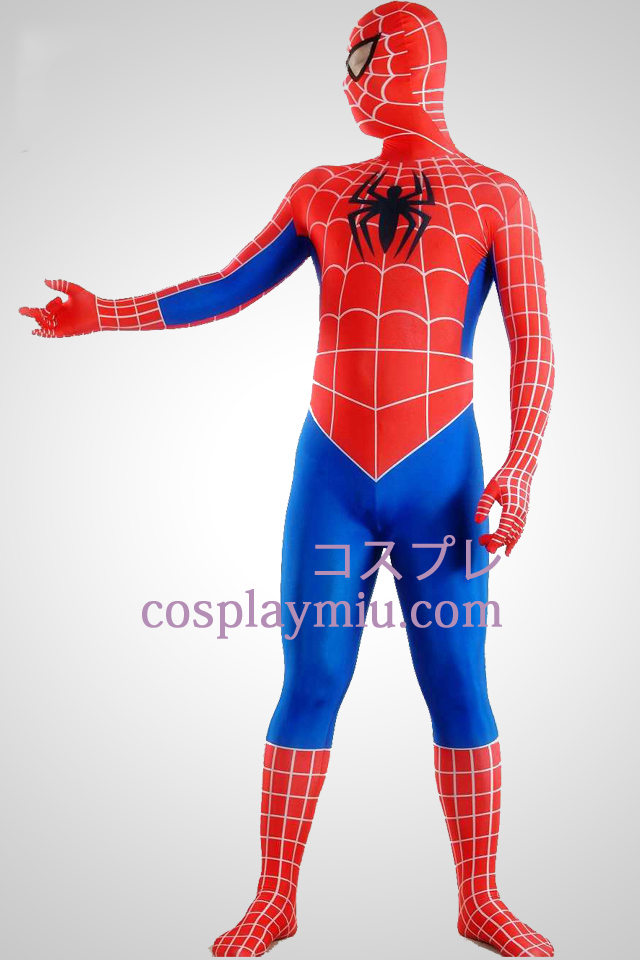 Red Blue Stripes Lycra Spandex Spiderman Superhero Zentai Suit